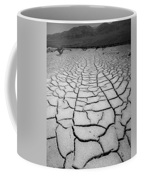 Mud Cracks Coffee Mug featuring the photograph 1a6832 Bw Mud Cracks In Death Valley by Ed Cooper Photography