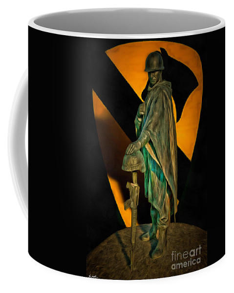 Soldier Coffee Mug featuring the digital art 1st Cav History - Respect From Another Trooper To Another - Oil by Tommy Anderson