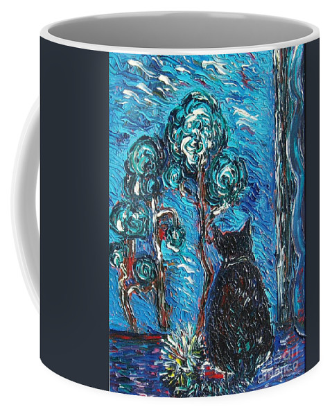 Cat Paintings Coffee Mug featuring the painting A Black Cat by Seon-Jeong Kim