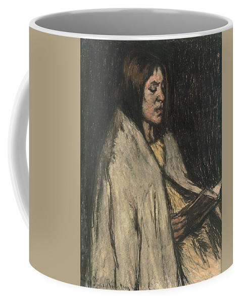 Suze Robertson (1853-1922)  Ernstige Lectuur Coffee Mug featuring the painting A Girl Reading A Book by Suze Robertson