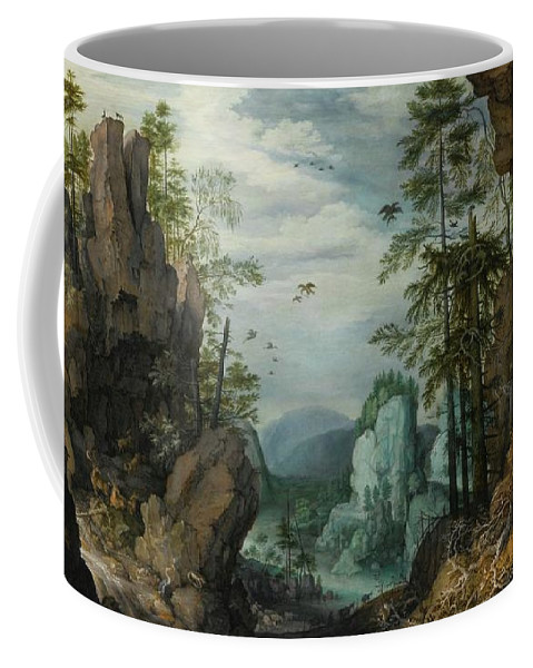 Roelandt Savery A Rocky Landscape With Travelers Coffee Mug featuring the painting A Rocky Landscape With Travelers by Roelandt Savery