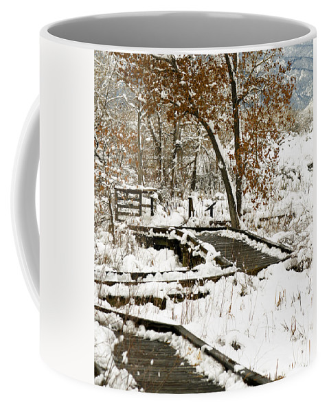 Boardwalk Coffee Mug featuring the photograph A Winter's Day by Marilyn Hunt
