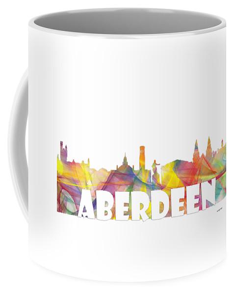 Aberdeen Coffee Mug featuring the digital art Aberdeen Scotland Skyline by Marlene Watson
