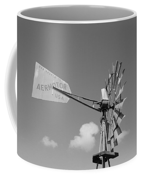 Black And White Coffee Mug featuring the photograph Aermotor Windmill by Rob Hans