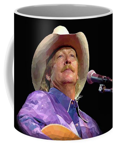 Singer Coffee Mug featuring the digital art Alan Jackson by Alexey Bazhan