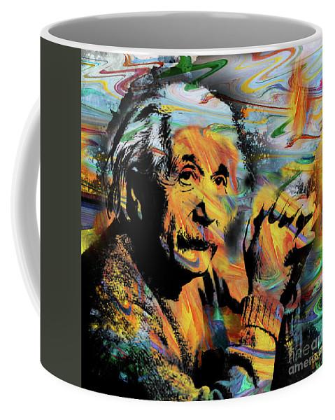 Albert Einstein Coffee Mug featuring the digital art Albert Einstein.. - By Prar by Prar Kulasekara