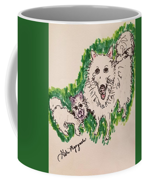 American Eskimo Dog Coffee Mug featuring the drawing American Eskimo Dog by Geraldine Myszenski
