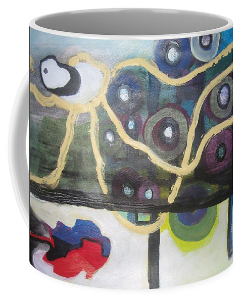 Abstract Contemporary Apple Tree Sun Plant Outdoor Blue Coffee Mug featuring the painting Apple Trees by Seon-Jeong Kim