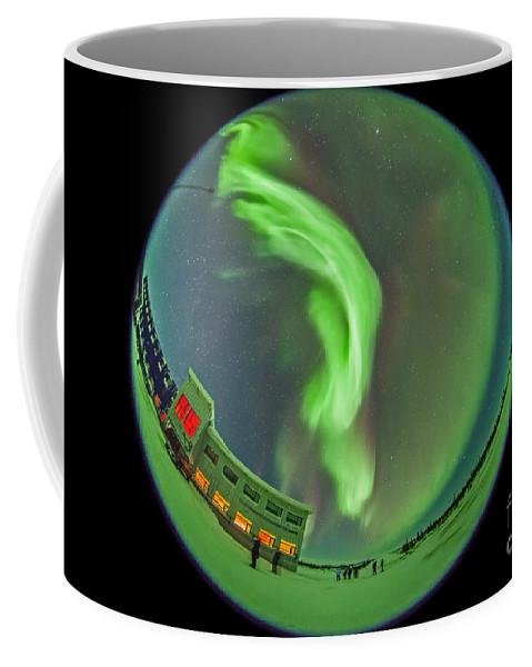 Aurora Coffee Mug featuring the photograph Aurora Borealis Over Churchill by Alan Dyer
