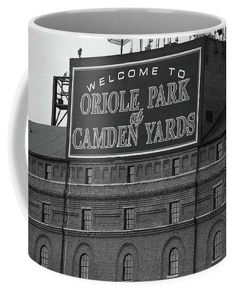 America Coffee Mug featuring the photograph Baltimore Orioles Park At Camden Yards Bw by Frank Romeo