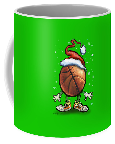 Basketball Coffee Mug featuring the digital art Basketball Christmas by Kevin Middleton
