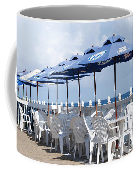 Chairs Coffee Mug featuring the photograph Beer Unbrellas by Rob Hans