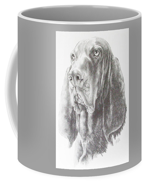 Purebred Dogs Coffee Mug featuring the drawing Black And Tan Coonhound by Barbara Keith