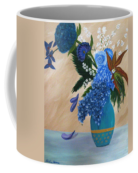 Flowers Coffee Mug featuring the painting Blue Passion by Debbie Levene