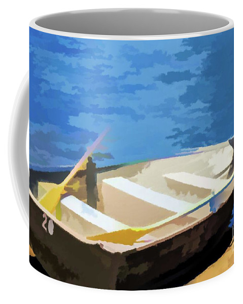 Asian Coffee Mug featuring the painting Boat 1 by Jeelan Clark
