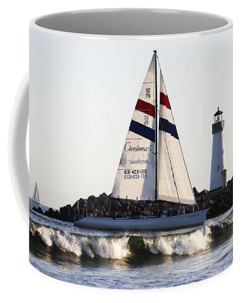 Santa Cruz Coffee Mug featuring the photograph 2 Boats Approach by Marilyn Hunt