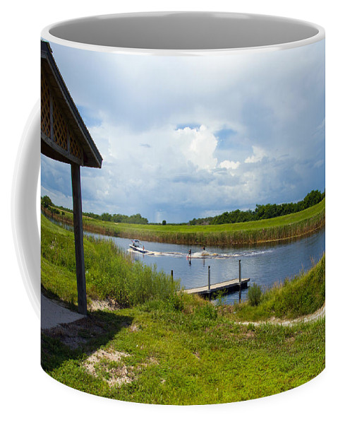 Florida; C54; Canal; Fellsmere; Sebastian; Grade; Drain; Draining; Water; Flow; Flowing; Indian; Riv Coffee Mug featuring the photograph C54 Canal In Florida by Allan Hughes