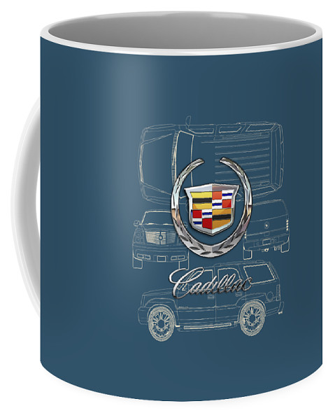 'wheels Of Fortune' By Serge Averbukh Coffee Mug featuring the photograph Cadillac 3 D Badge over Cadillac Escalade Blueprint by Serge Averbukh