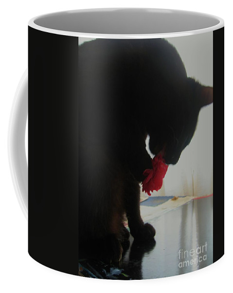 Photograph Cat Black Red Flower Camellia Coffee Mug featuring the photograph Cat Eating Camellia by Seon-Jeong Kim