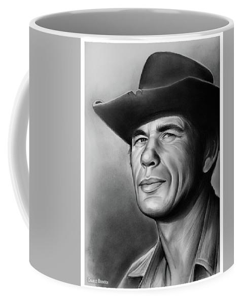 Charles Bronson Coffee Mug featuring the drawing Charles Bronson by Greg Joens
