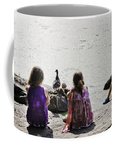Girls Coffee Mug featuring the photograph Children At The Pond 5 by Madeline Ellis