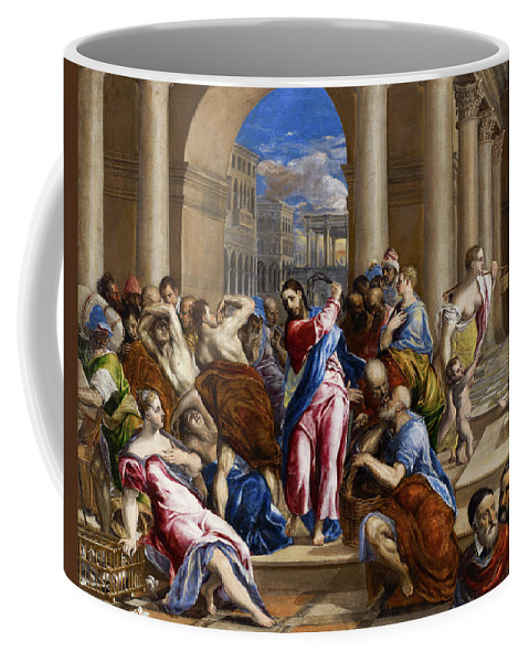 Christ Coffee Mug featuring the painting Christ Driving The Money Changers From The Temple by El Greco
