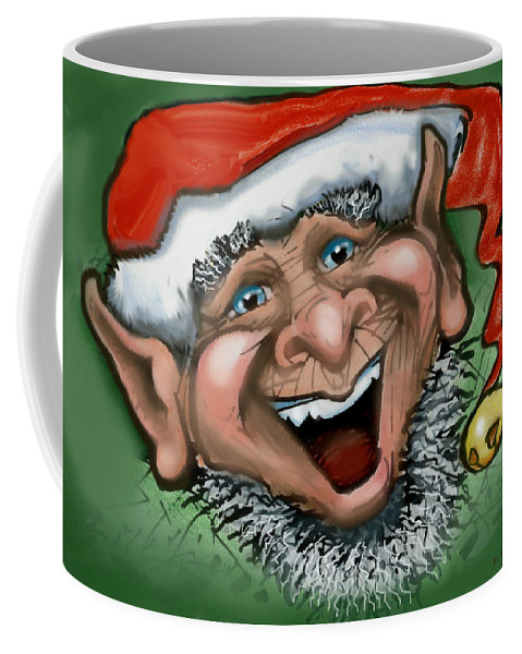 Christmas Coffee Mug featuring the greeting card Christmas Elf by Kevin Middleton