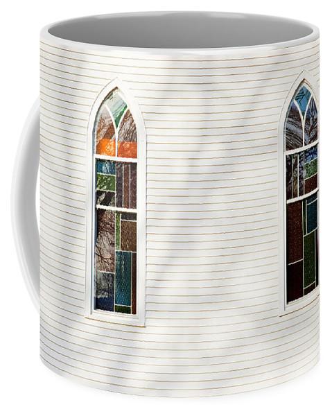Church Coffee Mug featuring the photograph Church Windows With Tree Shadows by Donald Erickson