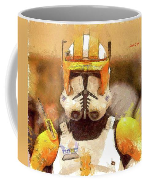 Clone Trooper Commander Coffee Mug featuring the painting Clone Trooper Commander by Leonardo Digenio