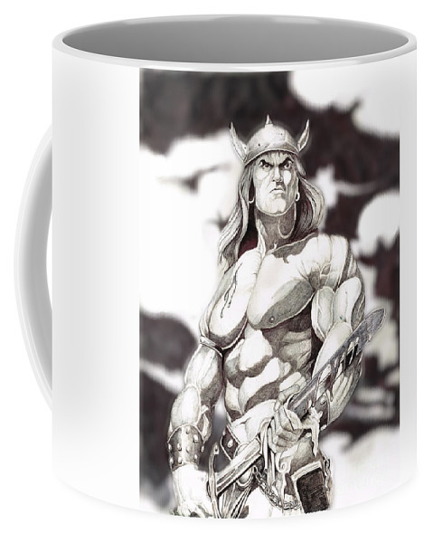 Conan Coffee Mug featuring the drawing Conan The Barbarian by Bill Richards