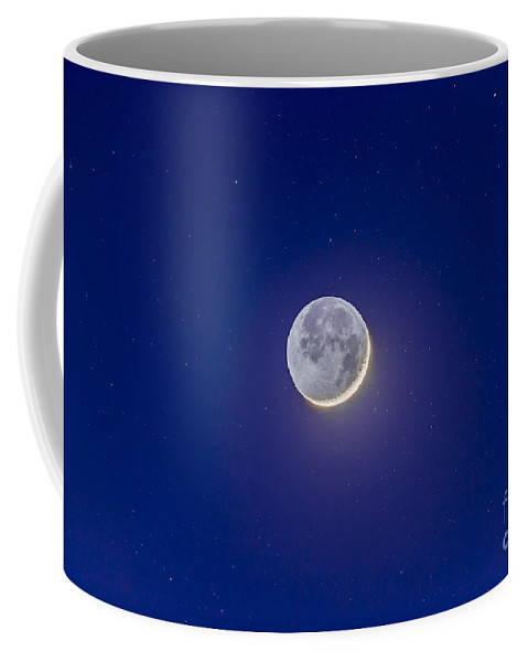 Crescent Moon Coffee Mug featuring the photograph Crescent Moon With Earthshine by Alan Dyer