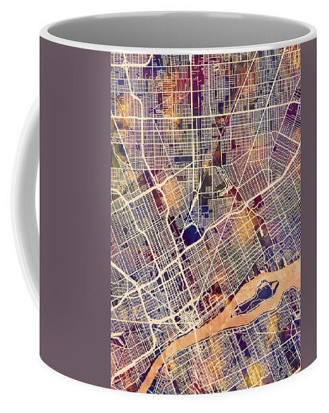 Detroit Coffee Mug featuring the digital art Detroit Michigan City Map by Michael Tompsett