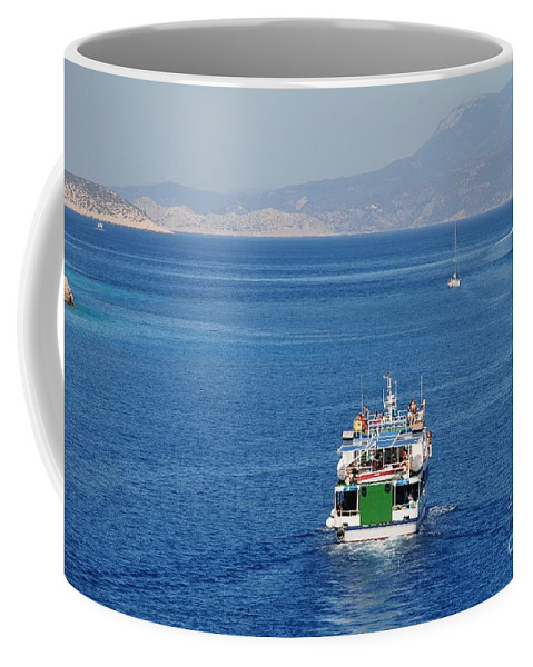 Halki Coffee Mug featuring the photograph Emborio Harbour On Halki by David Fowler