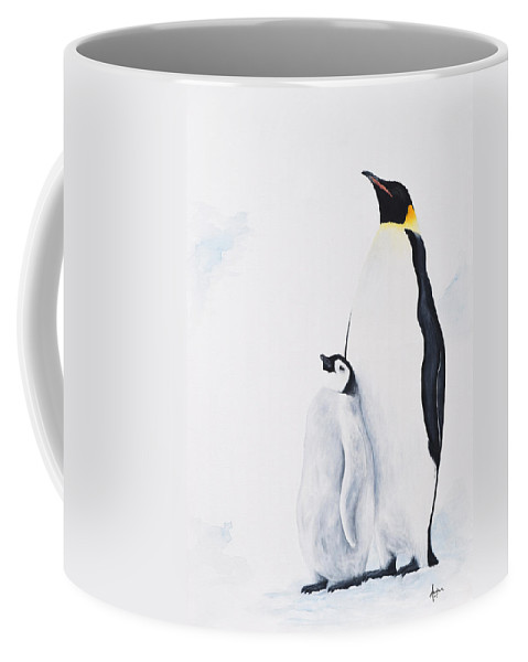 Wildlife Coffee Mug featuring the painting Emperor Penguin by Andrea Angulo