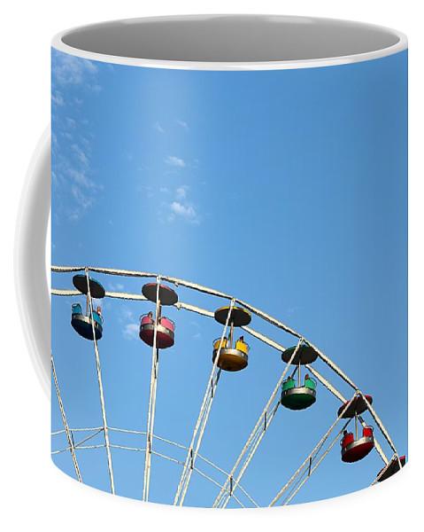 Ferris Wheel Amusement Ride Clouds Sky Multicolored Family Fun Built Structure Coffee Mug featuring the photograph Ferris Wheel by Scott Burd