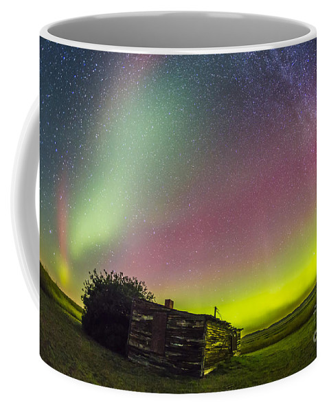 Aurora Coffee Mug featuring the photograph Fish-eye Lens View Of The Northern by Alan Dyer