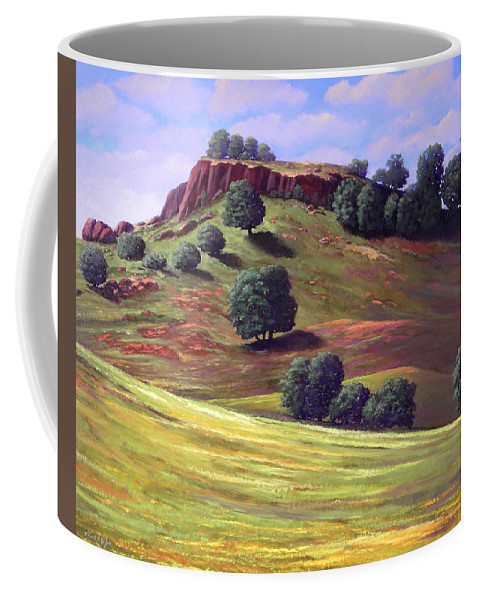 Landscape Coffee Mug featuring the painting Flowering Meadow by Frank Wilson