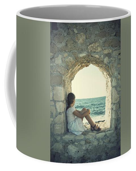 Female Coffee Mug featuring the photograph Girl At The Sea by Joana Kruse