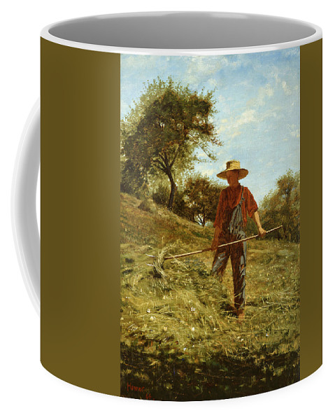 Winslow Homer Coffee Mug featuring the painting Haymaking by Winslow Homer