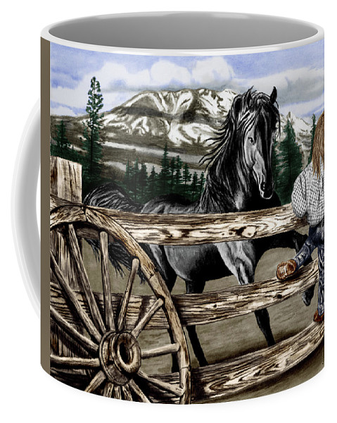 Hello Girl Coffee Mug featuring the drawing Hello Girl by Peter Piatt