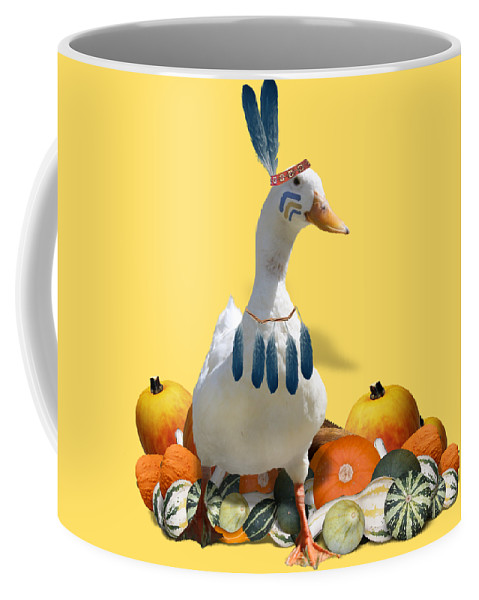 Thanksgiving Coffee Mug featuring the mixed media Indian Duck by Gravityx9 Designs