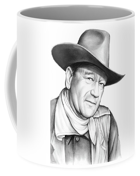 John Wayne Coffee Mug featuring the drawing John Wayne by Greg Joens