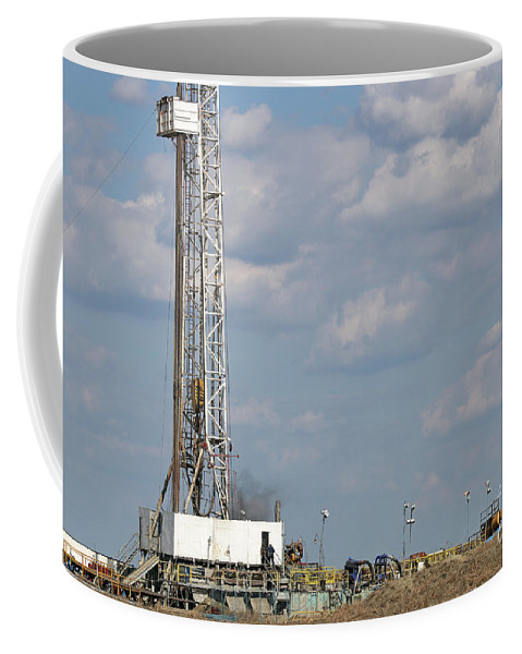 Derrick Coffee Mug featuring the photograph Land Oil Drilling Rig On Oilfield by Goce Risteski