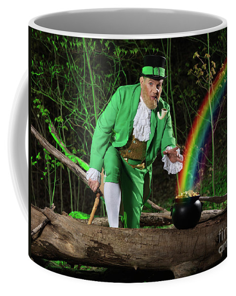 Leprechaun Coffee Mug featuring the photograph Leprechaun With Pot Of Gold by Oleksiy Maksymenko