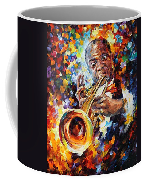 Afremov Coffee Mug featuring the painting Louis Armstrong . by Leonid Afremov