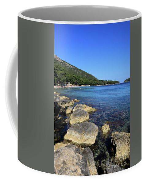 Mediterranean Coffee Mug featuring the pyrography Mediterranean Seascape by Claudio Filacchioni