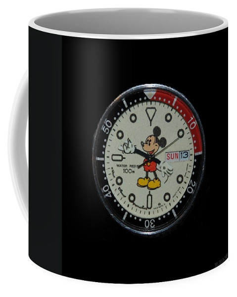 Mickey Mouse Coffee Mug featuring the photograph Mickey Mouse Watch Face by Rob Hans