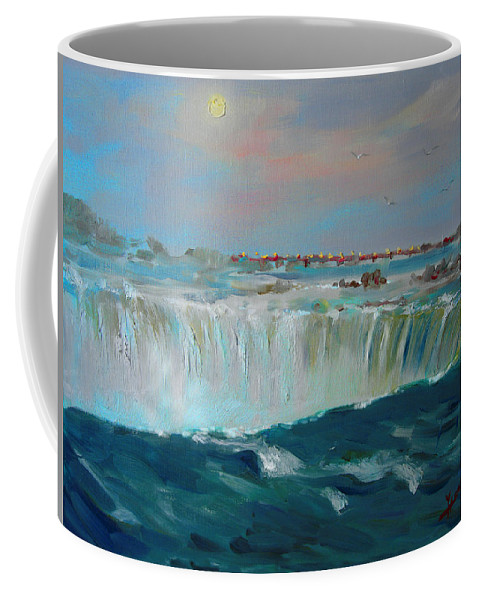 Landscape Coffee Mug featuring the painting Niagara Falls by Ylli Haruni