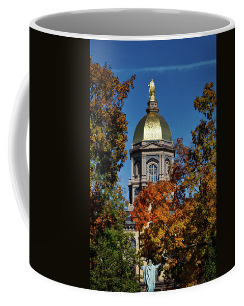 Notre Dame University Coffee Mug featuring the photograph Notre Dame's Golden Dome by Mountain Dreams