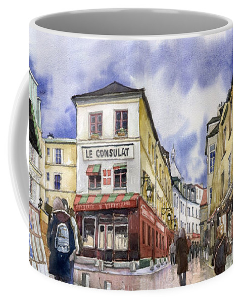 Watercolour Coffee Mug featuring the painting Paris Montmartre by Yuriy Shevchuk